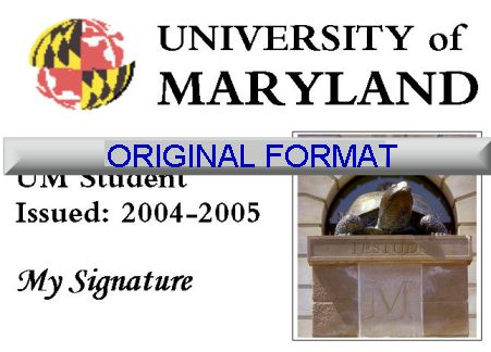 MARYLAND UNIVERSITY STUDENT ID DRIVER LICENSE ORIGINAL FORMAT, DESIGN SPECIFICATIONS, NOVELTY SECURITY CARD PROFILES, IDENTITY, NEW SOFTWARE ID SOFTWARE